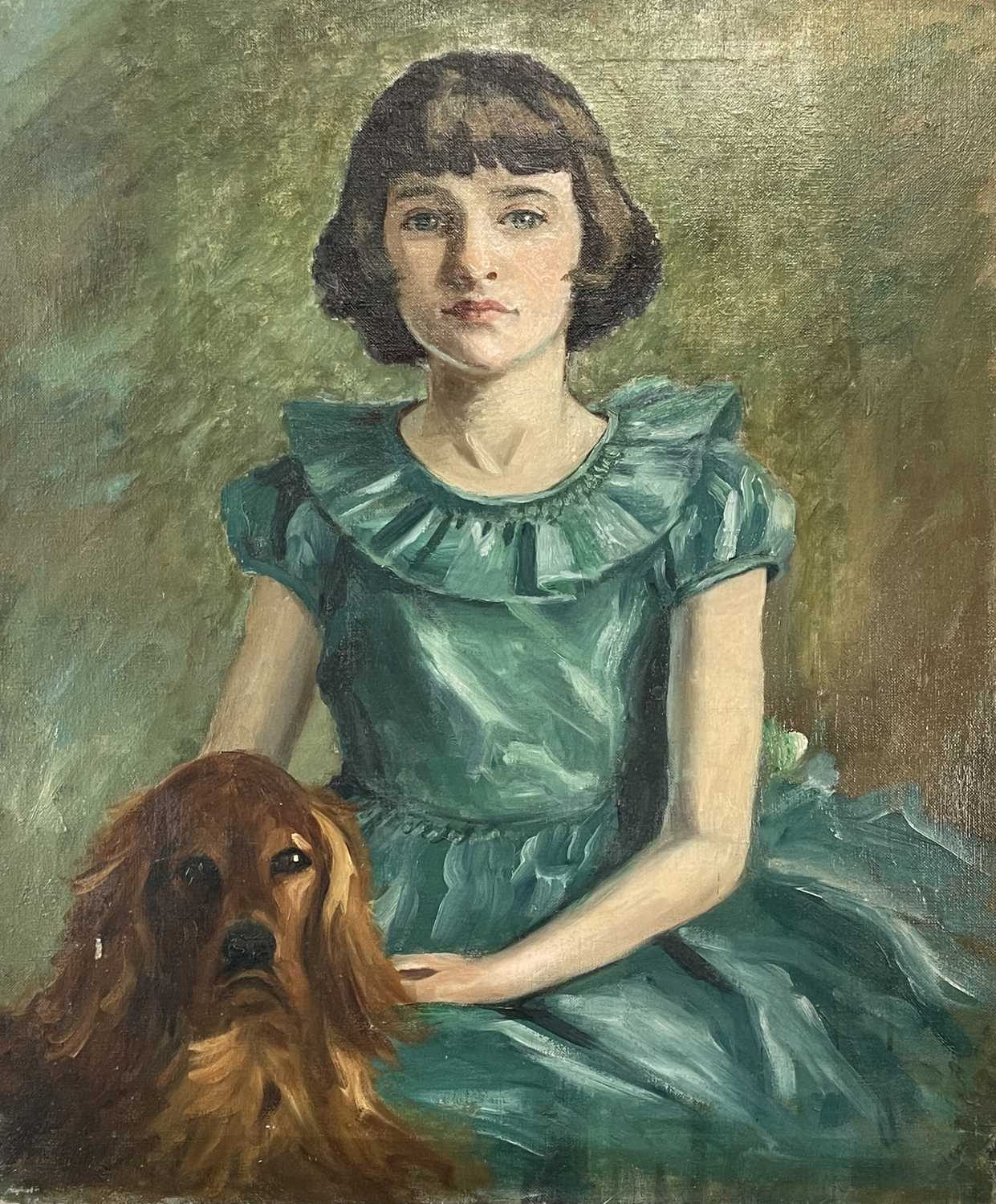 Garlick BARNES (1891-1987)Portrait of a Girl with her DogOil on canvas 76 x 63cm Garlick Barnes - Image 2 of 3