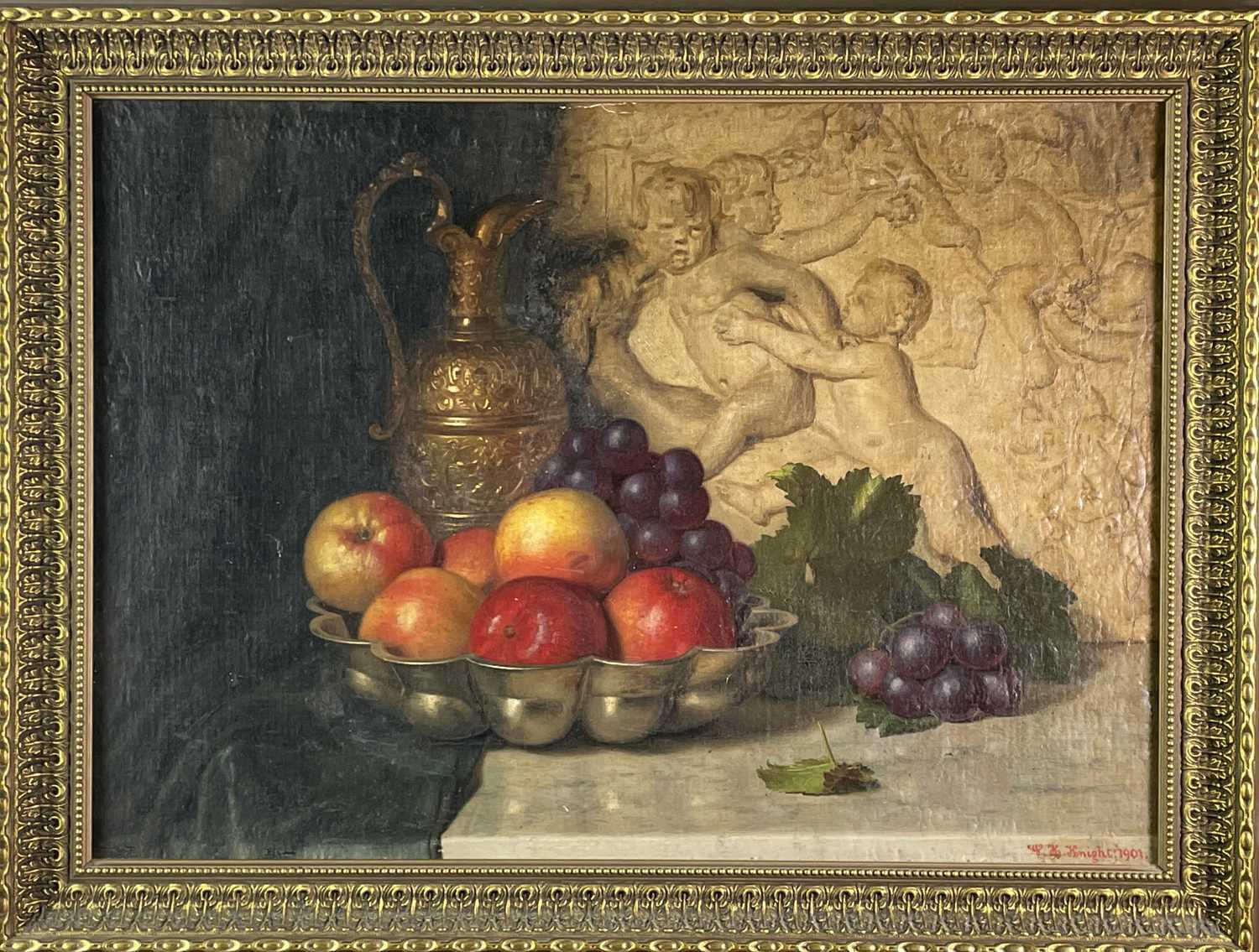 W. H. KNIGHT Still Life after Caravaggio Oil on canvas laid down Signed and dated 1901 - Image 3 of 3