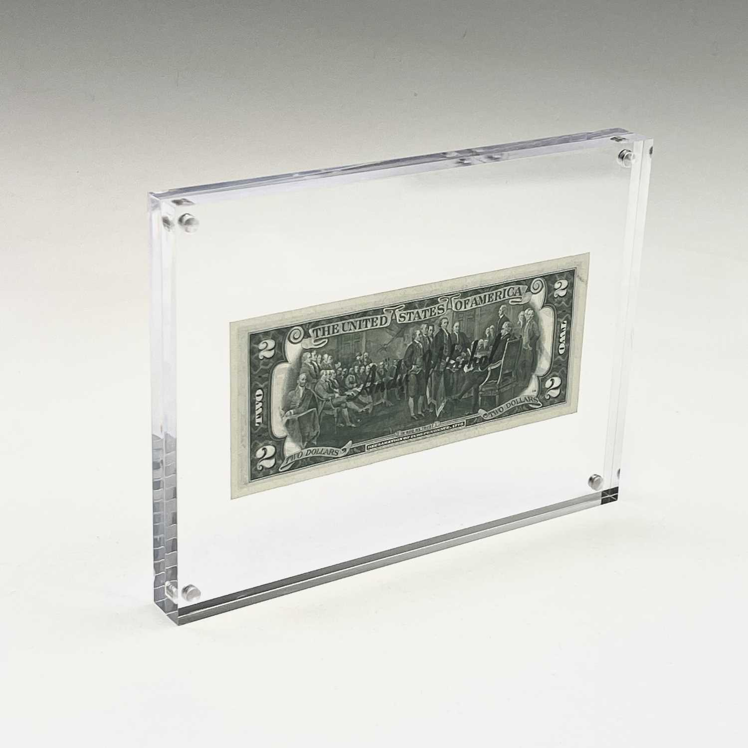 After Andy Warhol, a two-dollar banknote, bears signature, together with accompanying paperwork. - Image 4 of 10