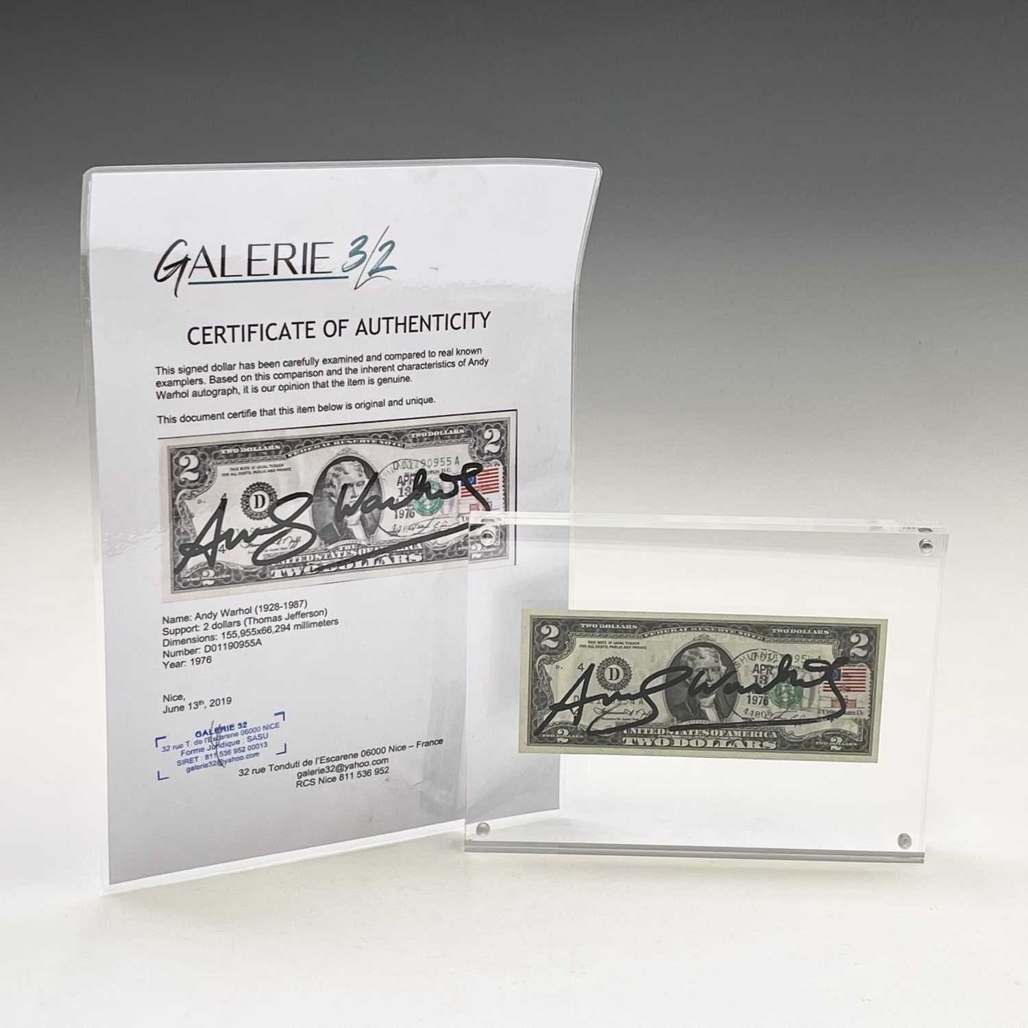 After Andy Warhol, a two-dollar banknote, bears signature, together with accompanying paperwork. - Image 12 of 14