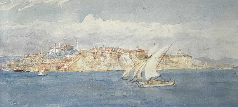 Tristram James ELLIS (1844-1922) Constantinople Signed with initials 17x37cm