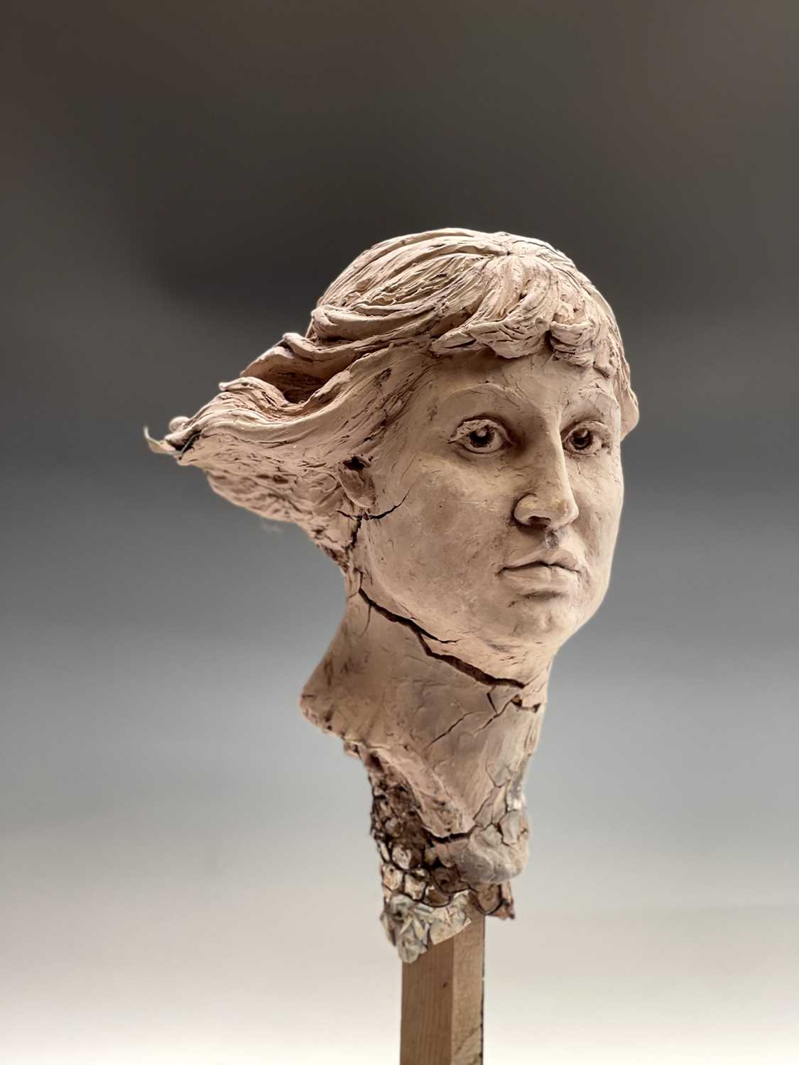 Alec WILES (1924)Female Head Clay sculpture Height 58cm - Image 17 of 17