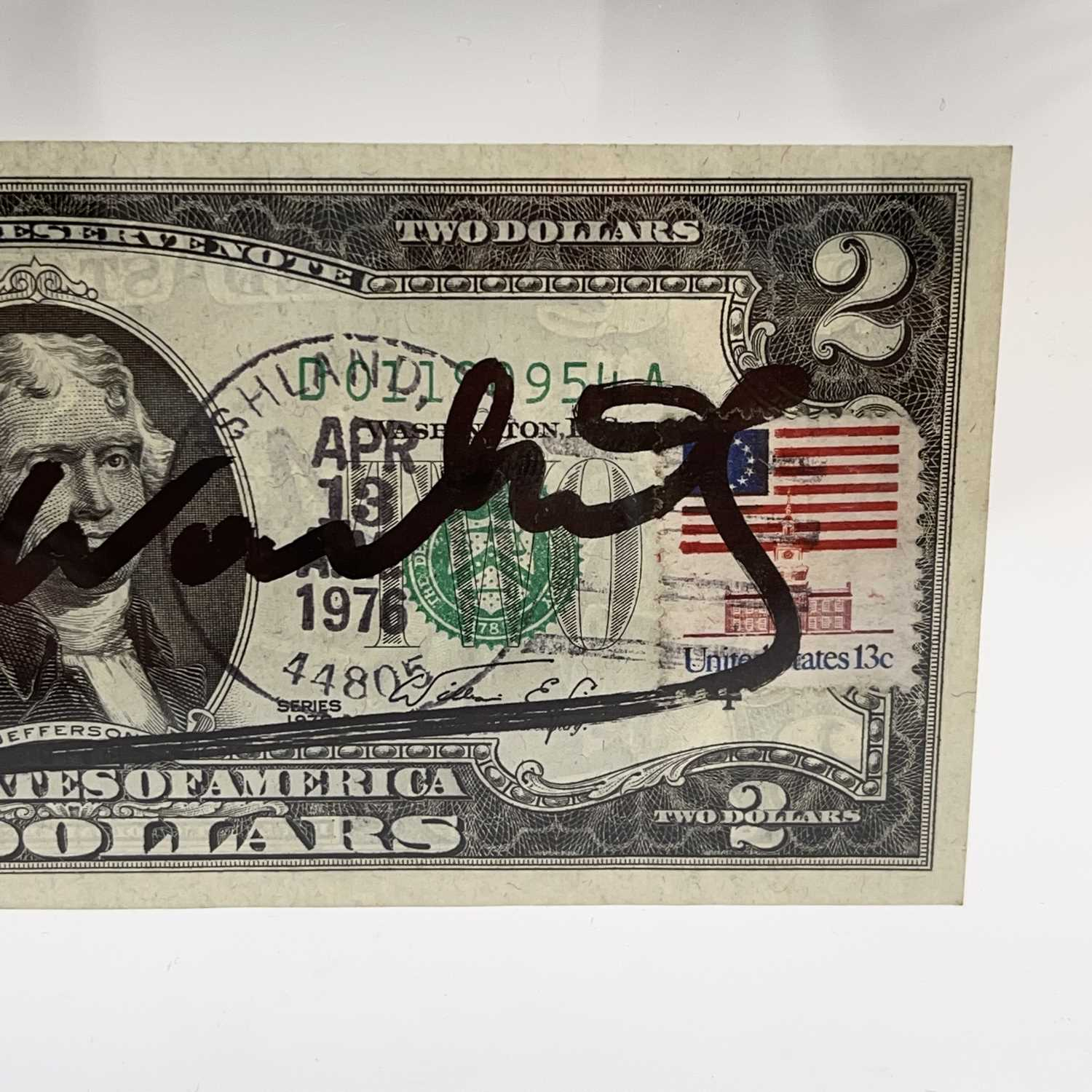 After Andy Warhol, a two-dollar banknote, bears signature, together with accompanying paperwork. - Image 10 of 14