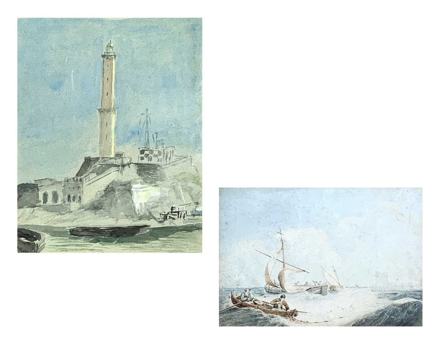 Attributed to Samuel Owen Marine Watercolour Together with a watercolour of a lighthouse by George H