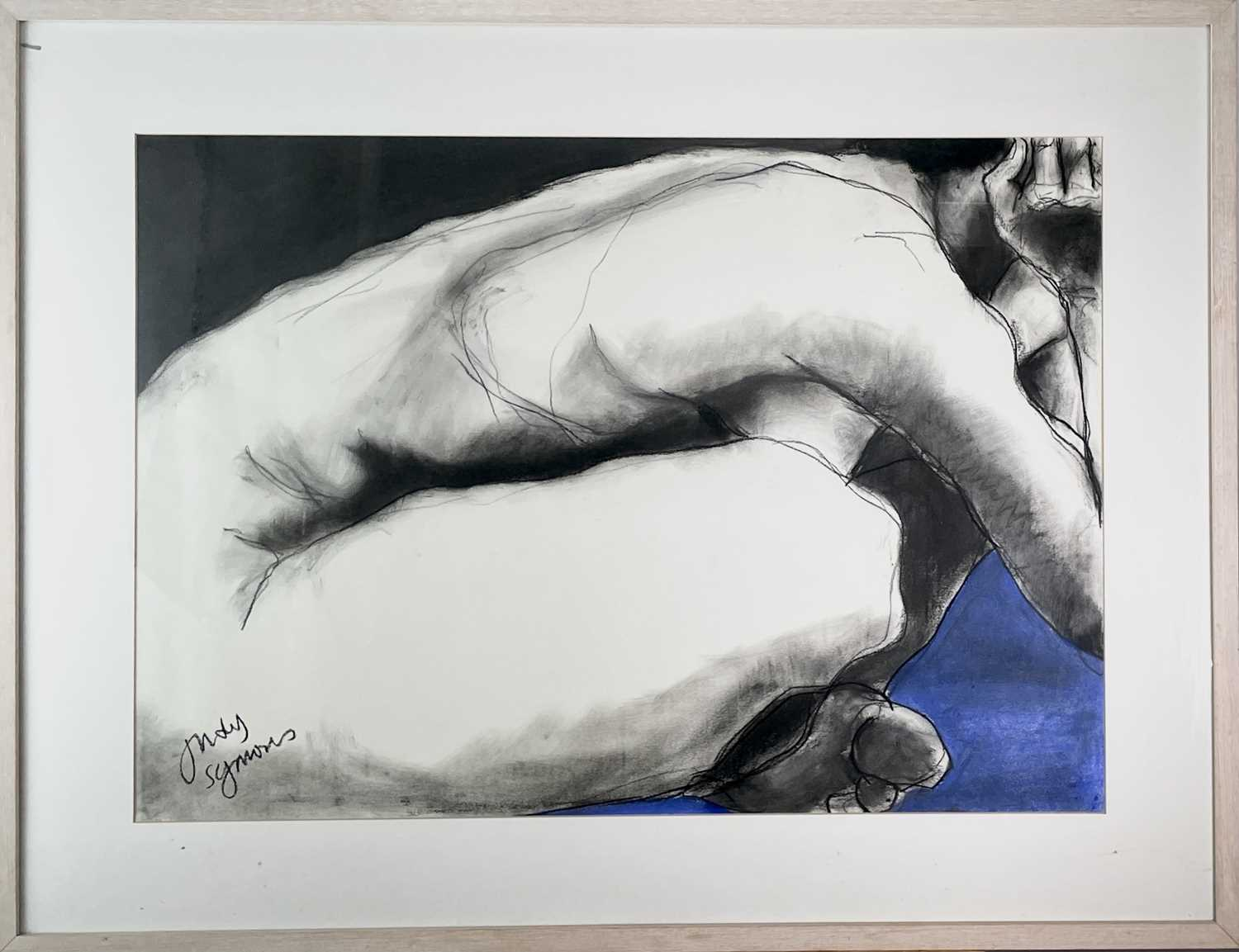 Judy SYMONS (XX-XXI)Doing Yoga on a Blue Mat Charcoal and pastel on paper Signed Further signed - Image 3 of 3