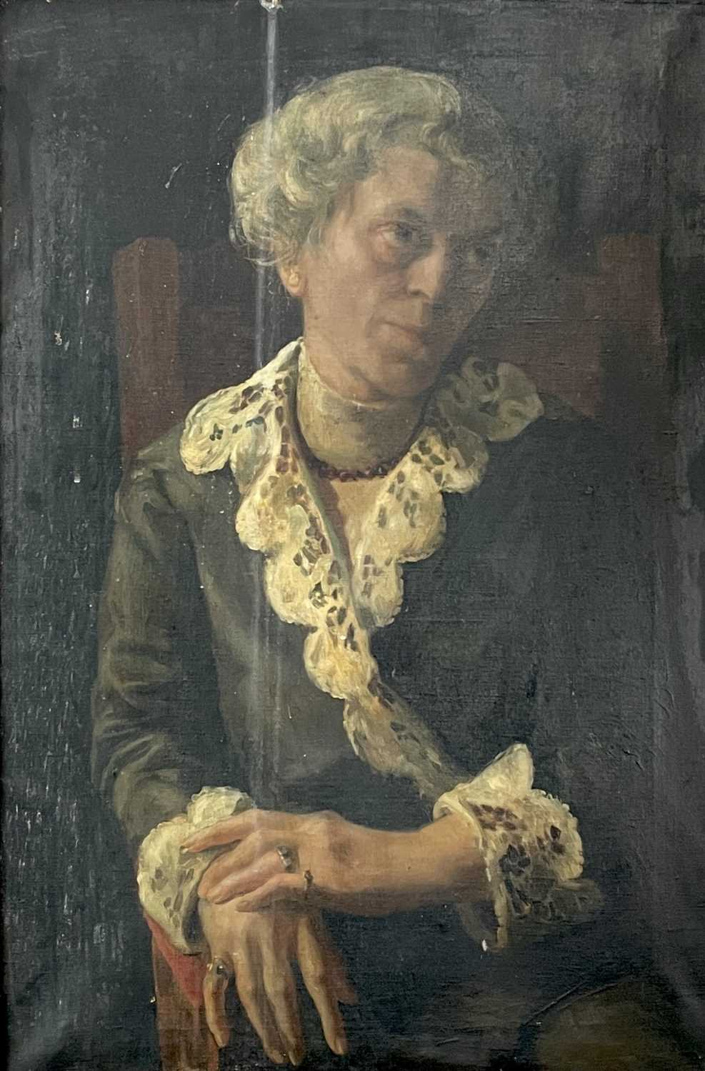 Pre-War English school Portrait of a seated lady Oil on canvas 76x50cm - Image 6 of 7