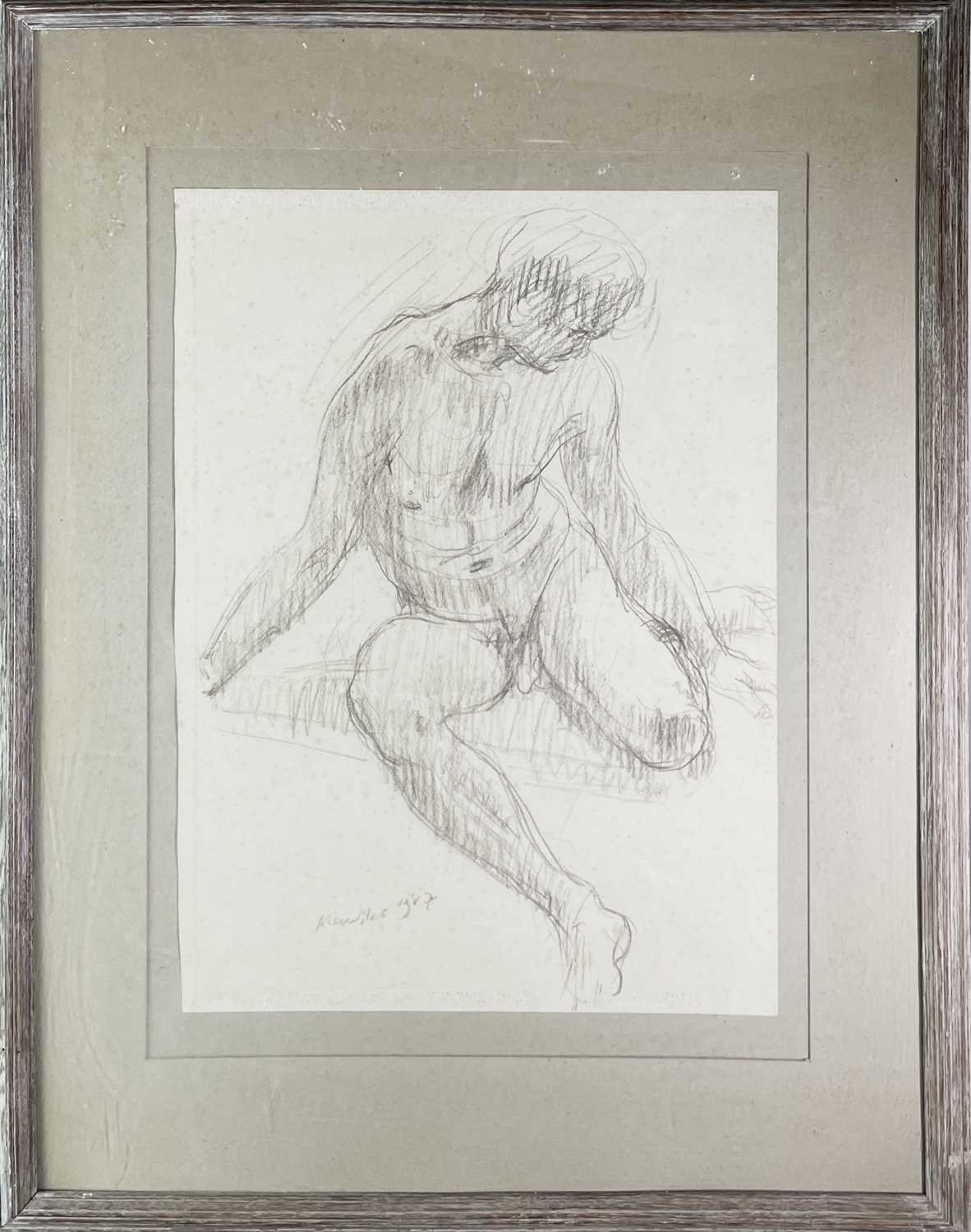Alec WILES (1924) Seated Male Nude Charcoal Signed and dated 1987 59x43cm - Image 3 of 3
