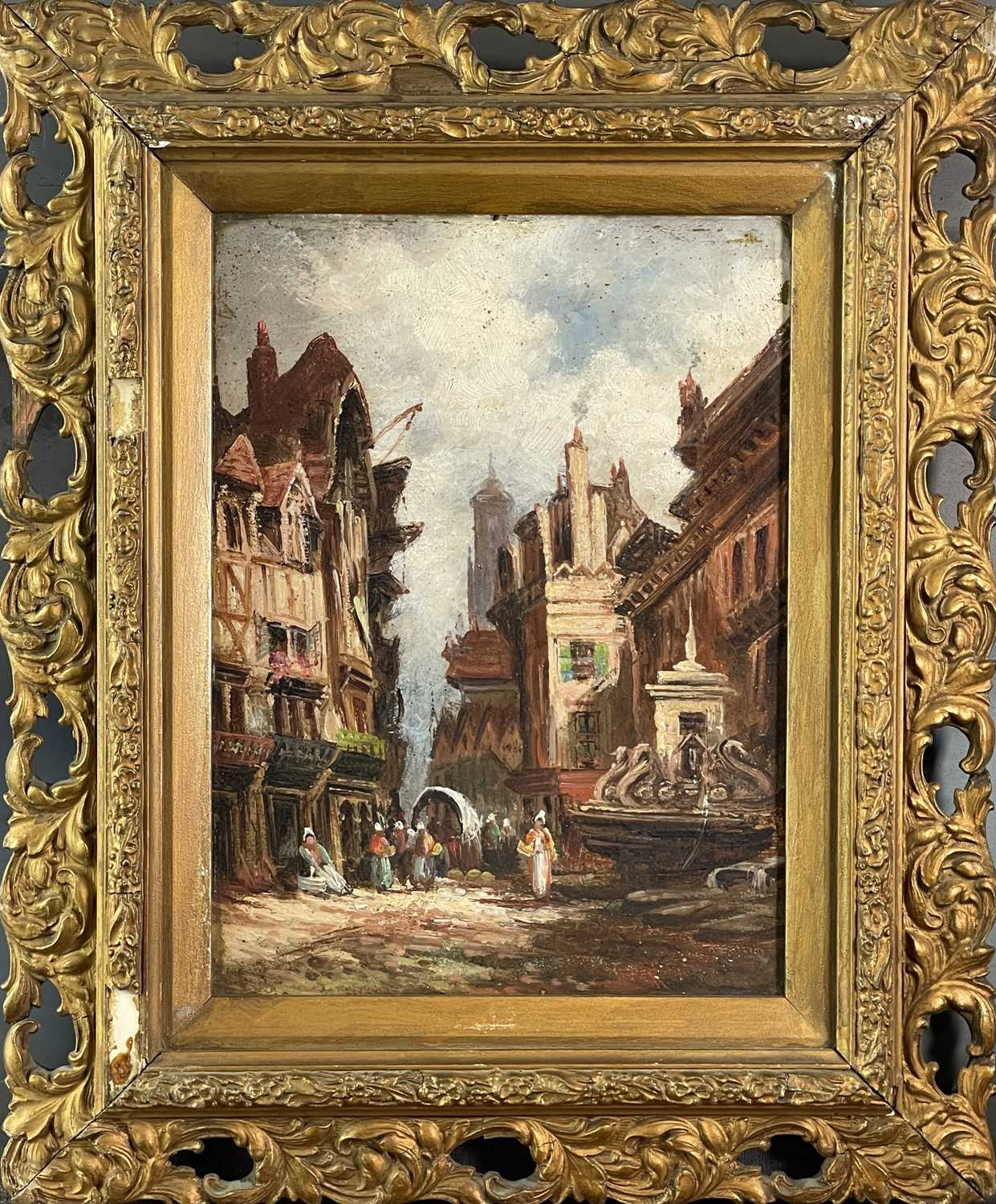Follower of Henry Thomas SCHAEFER (1854-1915) Town Streets Oil on canvas Indistinctly signed - Image 3 of 7