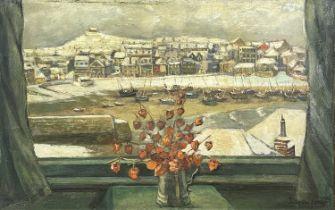 Eileen IZARDWinter, St Ives Harbour Through the WindowOil on canvas Signed 36 x 56cm