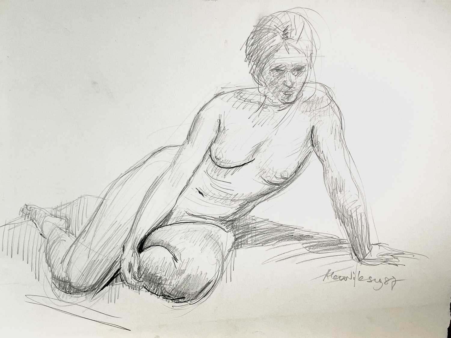 Alec WILES (1924) Nude drawings A collection of thirteen Mostly signed Mostly 60x42 Together with - Image 14 of 46