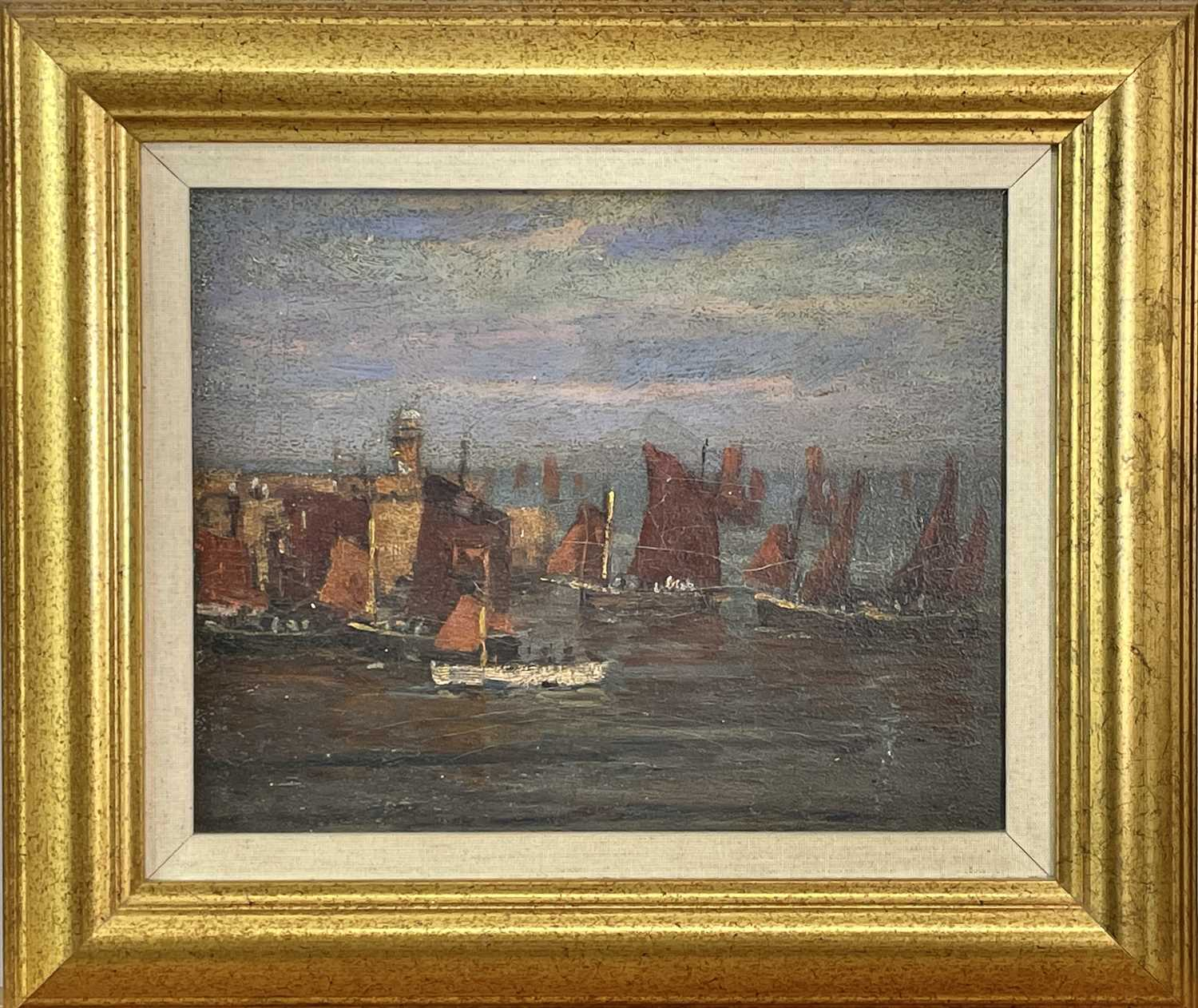 Circle of John Anthony PARK (1880-1962)Luggers in St Ives Harbour Oil on board 22 x 27cm - Image 2 of 3