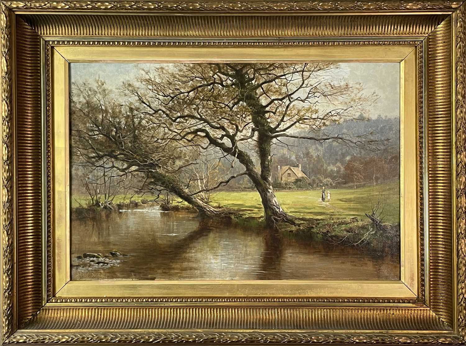 Arthur Bevan COLLIER (1832-1908)On the River InnyOil on canvas Signed, inscribed and dated 1894 to - Image 3 of 3