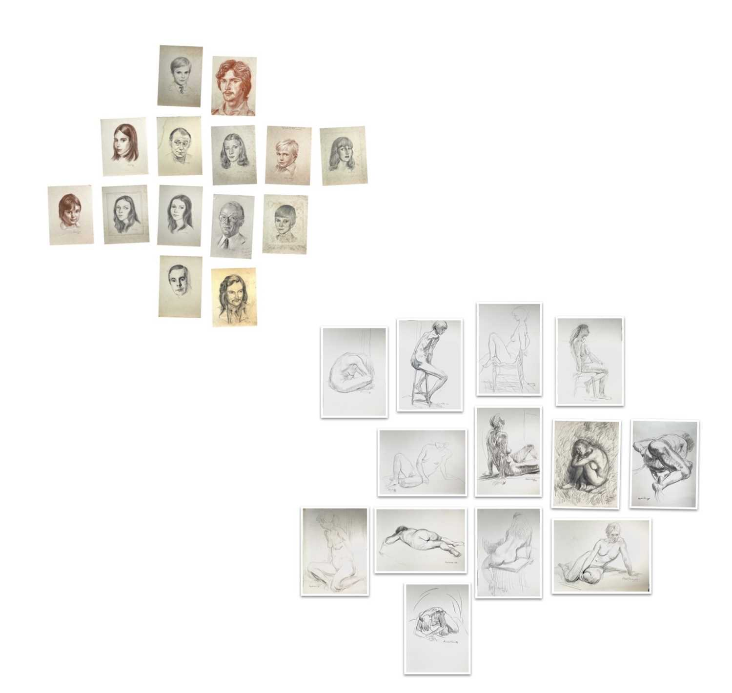 Alec WILES (1924) Nude drawings A collection of thirteen Mostly signed Mostly 60x42 Together with