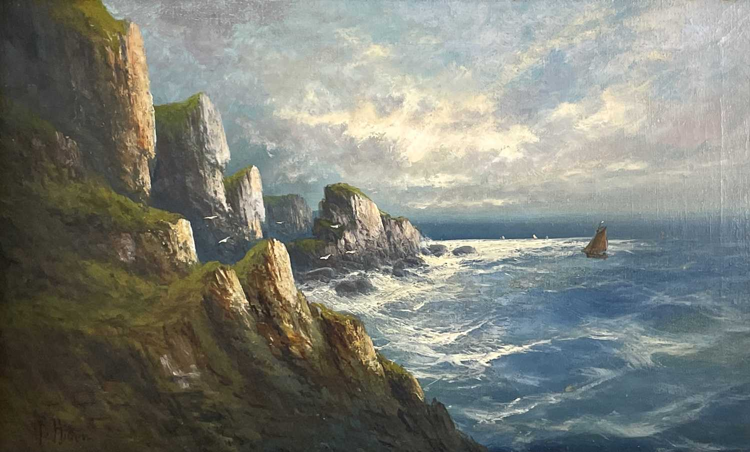 """Frank HIDER (1861-1933)Two oils on canvas """"Near Lands End"""", 30 x 50cm'The Evening Glory of the - Image 2 of 7"""