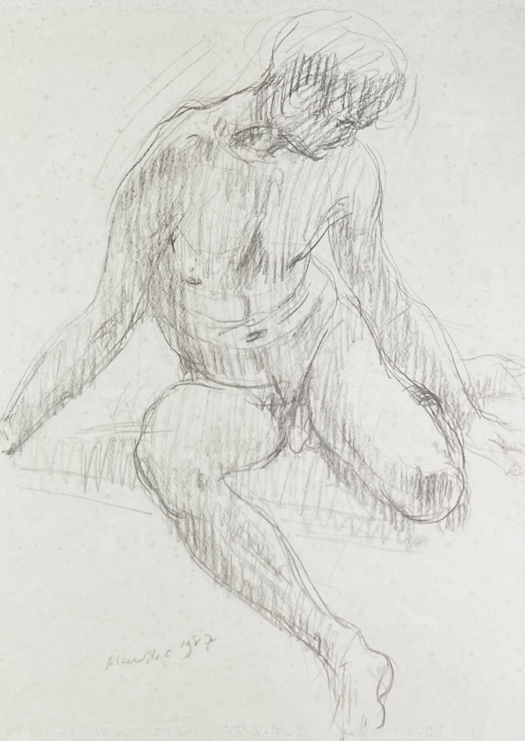 Alec WILES (1924) Seated Male Nude Charcoal Signed and dated 1987 59x43cm