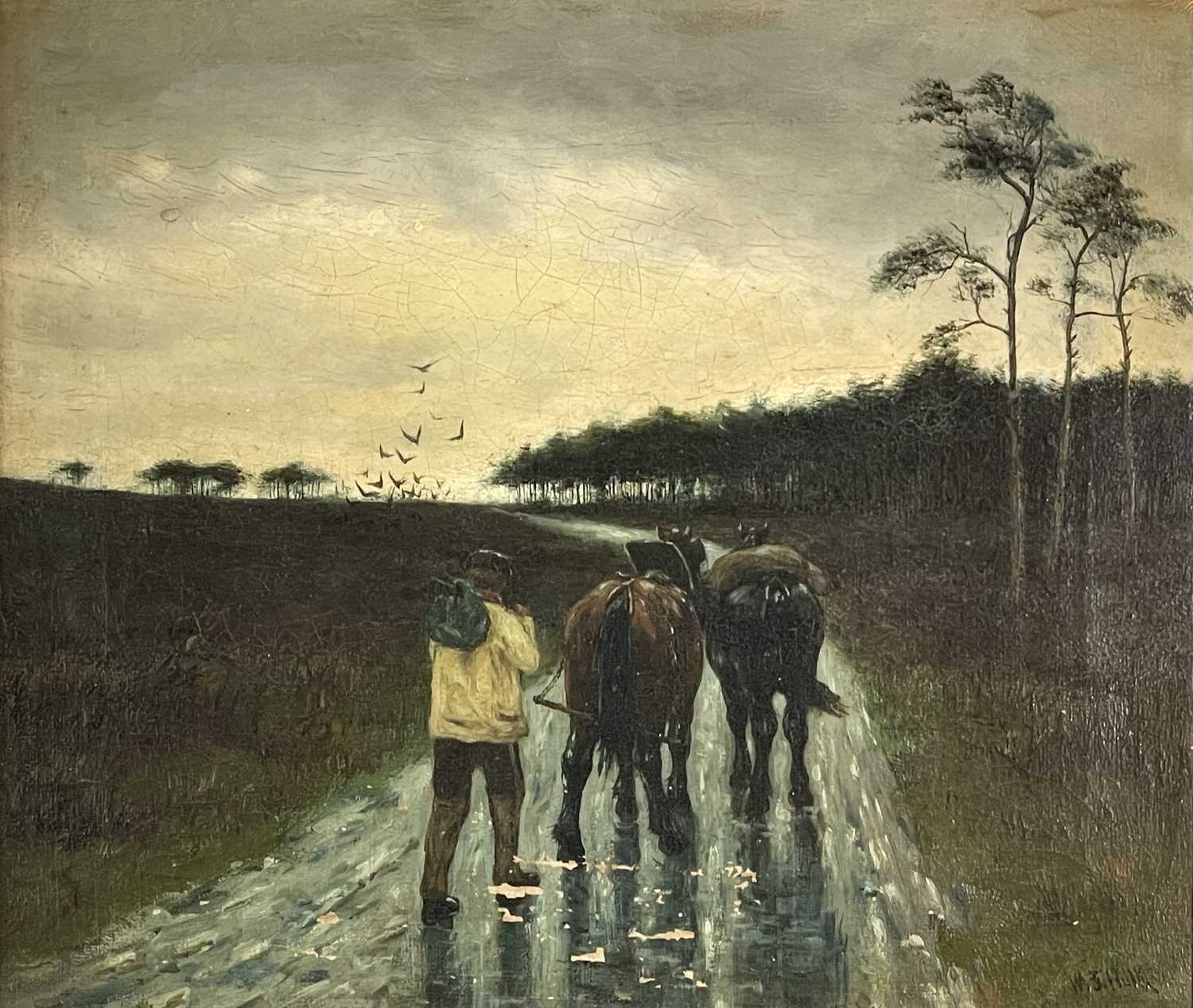 William Frederick HULK (1852-c.1906) A Rainy Day Oil on canvas Signed, traces of inscriptions to