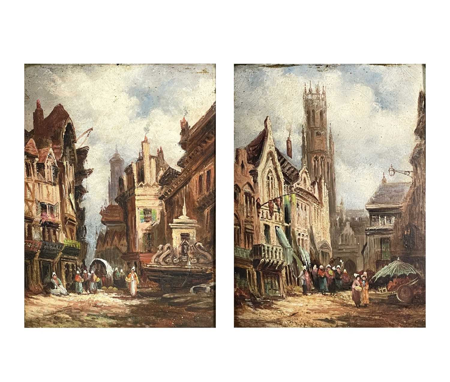Follower of Henry Thomas SCHAEFER (1854-1915) Town Streets Oil on canvas Indistinctly signed