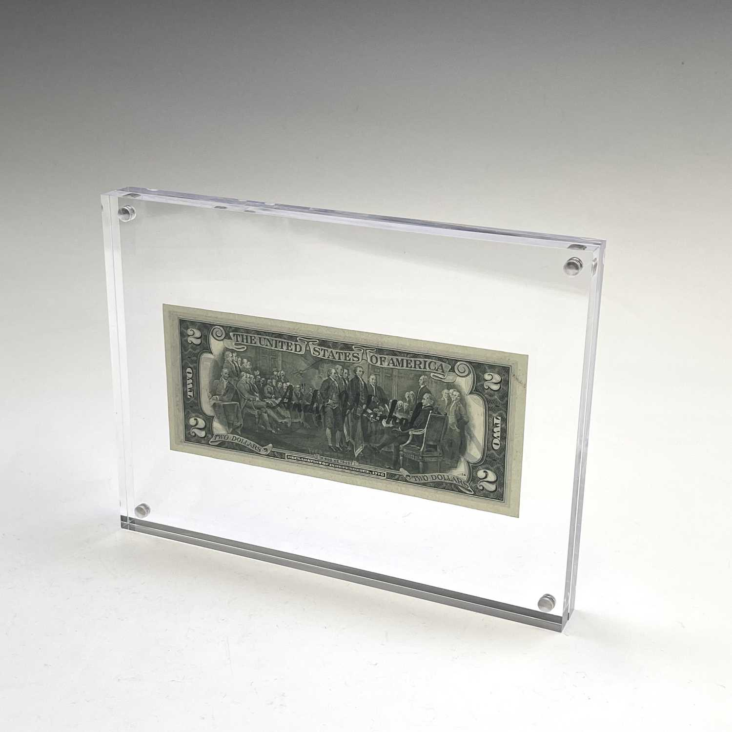 After Andy Warhol, a two-dollar banknote, bears signature, together with accompanying paperwork. - Image 3 of 10