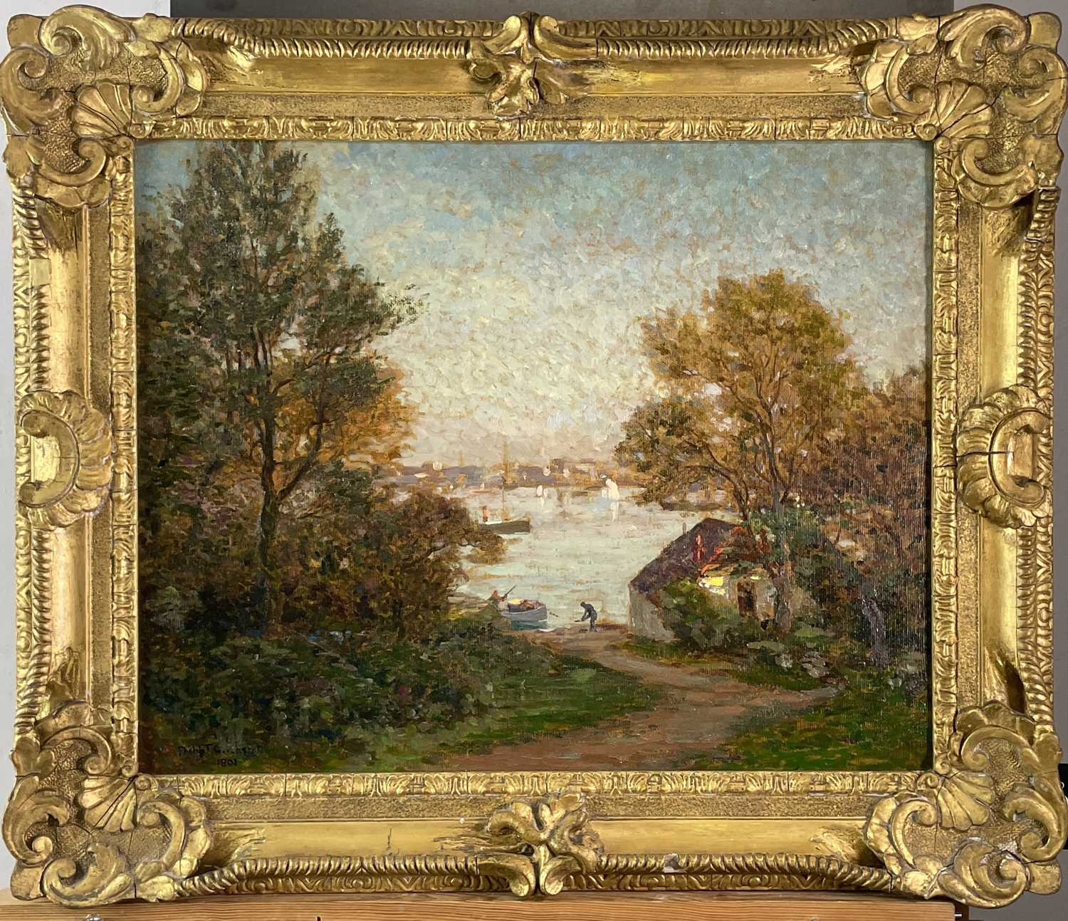 Philip Thomson GILCHRIST (1865-1956) An Evening in May, Falmouth Oil on canvas Signed and dated - Image 3 of 3