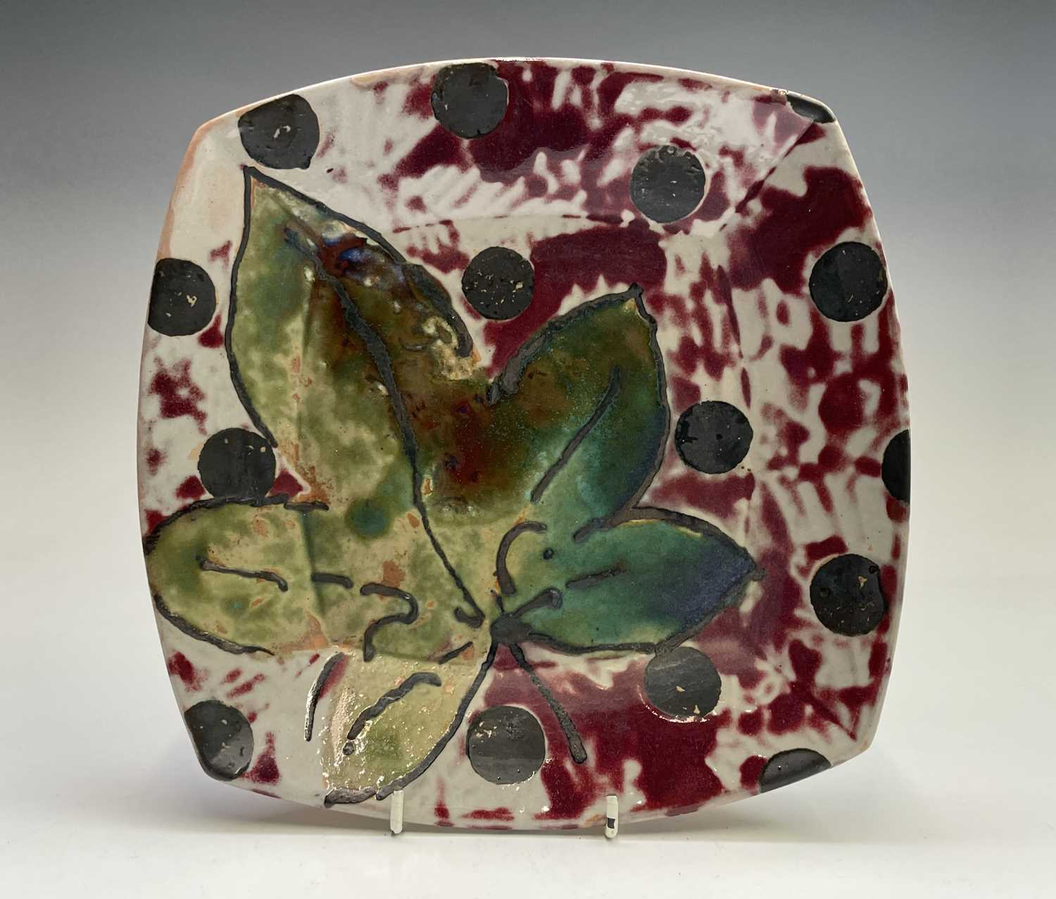 Janice TCHALENKO (1942-2018) Square dish Monogrammed 25.5cmCondition report: We can see no condition
