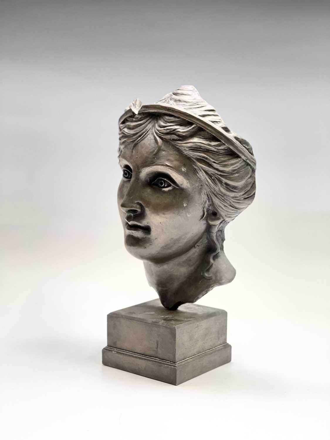 Alec WILES (1924)Aphrodite Bronzed resin mask and plinth Height 35cm - Image 4 of 8