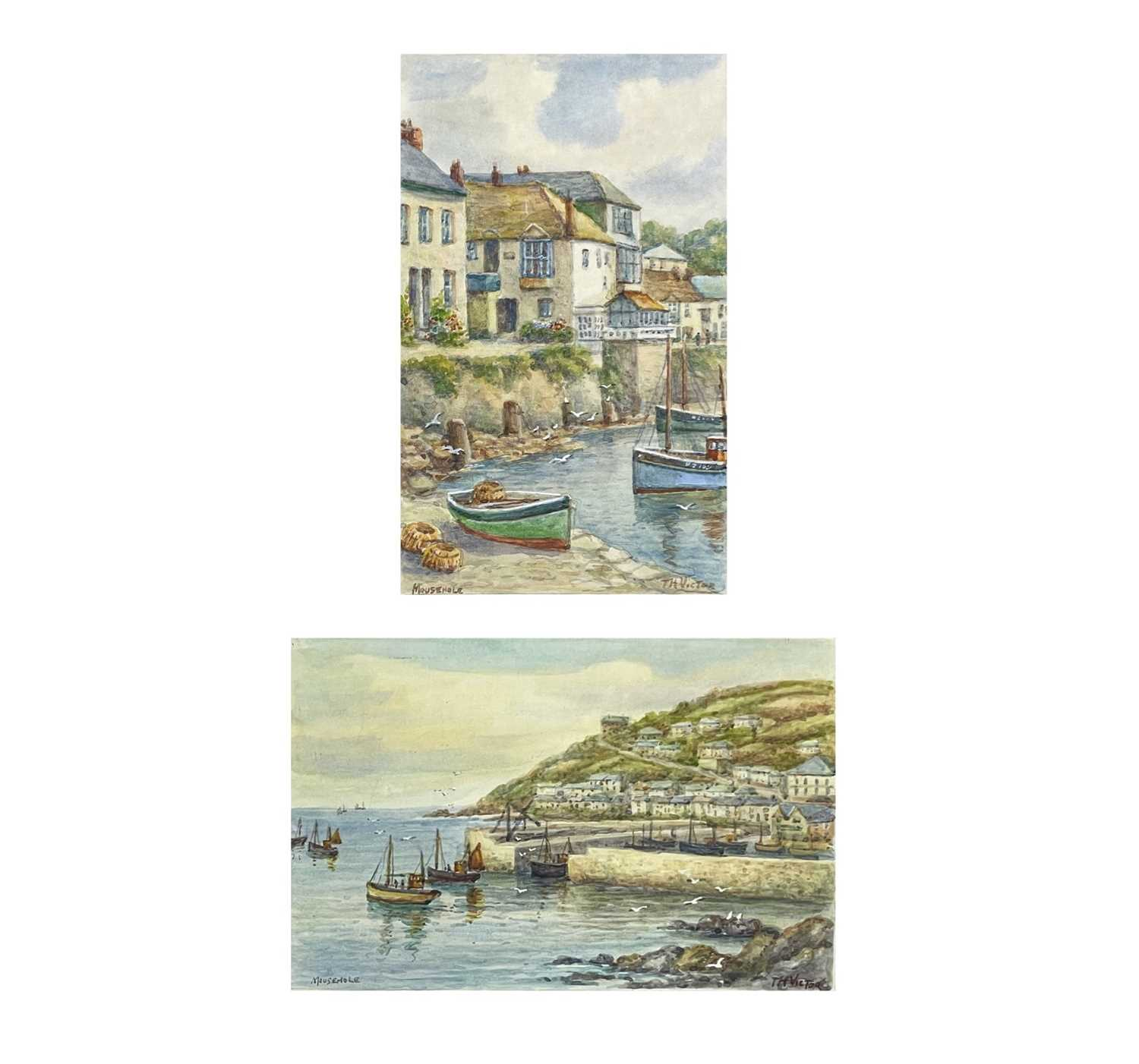 Thomas Herbert VICTOR (1894-1980)Mousehole Two watercoloursEach signed and inscribed 27.5 x 17cm and
