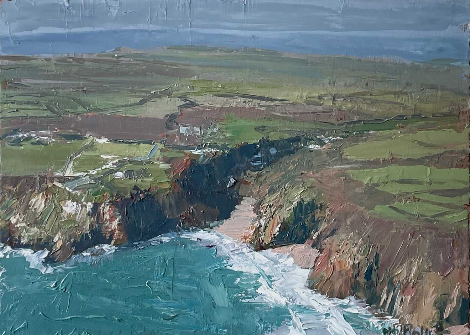 Neil PINKETT (1958)The Minack Theatre and Porthcurno Oil on board Signed Gallery label to verso 29 x