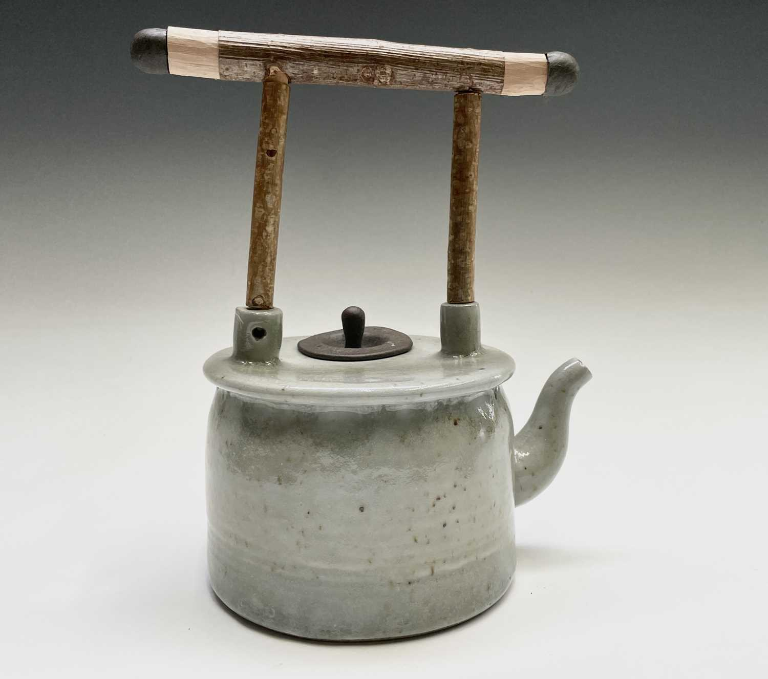 Roger MICHELL (1947-2018)A celadon glazed teapotImpressed makers mark to base, signed in pen and