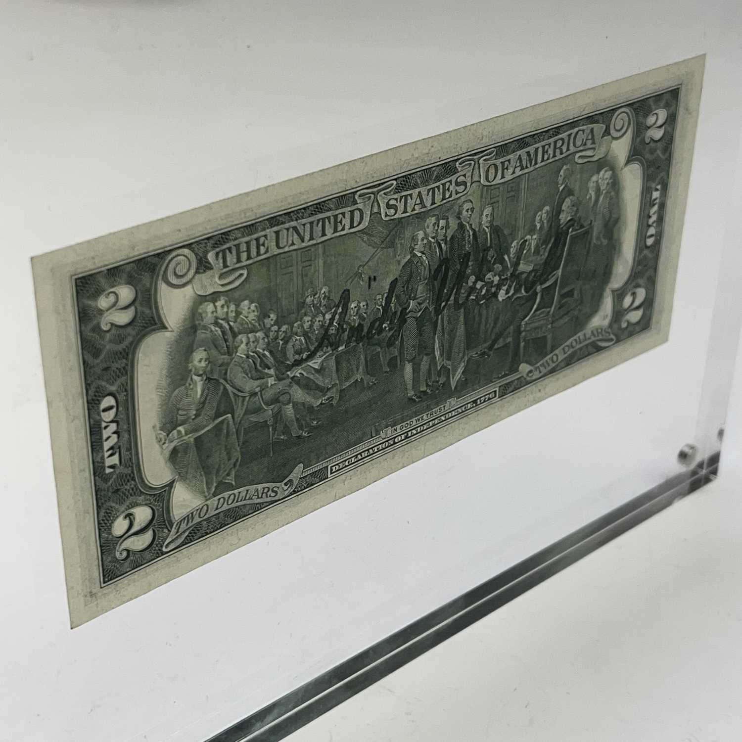 After Andy Warhol, a two-dollar banknote, bears signature, together with accompanying paperwork. - Image 7 of 14