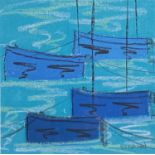 Stephen FELSTEAD (1957)Blue Boats, MouseholePastelSignedFurther signed, inscribed and dated 2020