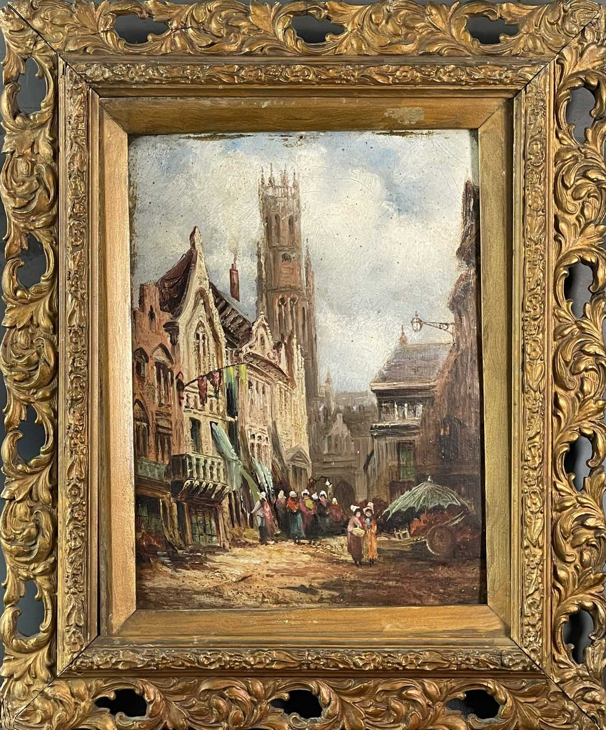 Follower of Henry Thomas SCHAEFER (1854-1915) Town Streets Oil on canvas Indistinctly signed - Image 6 of 7