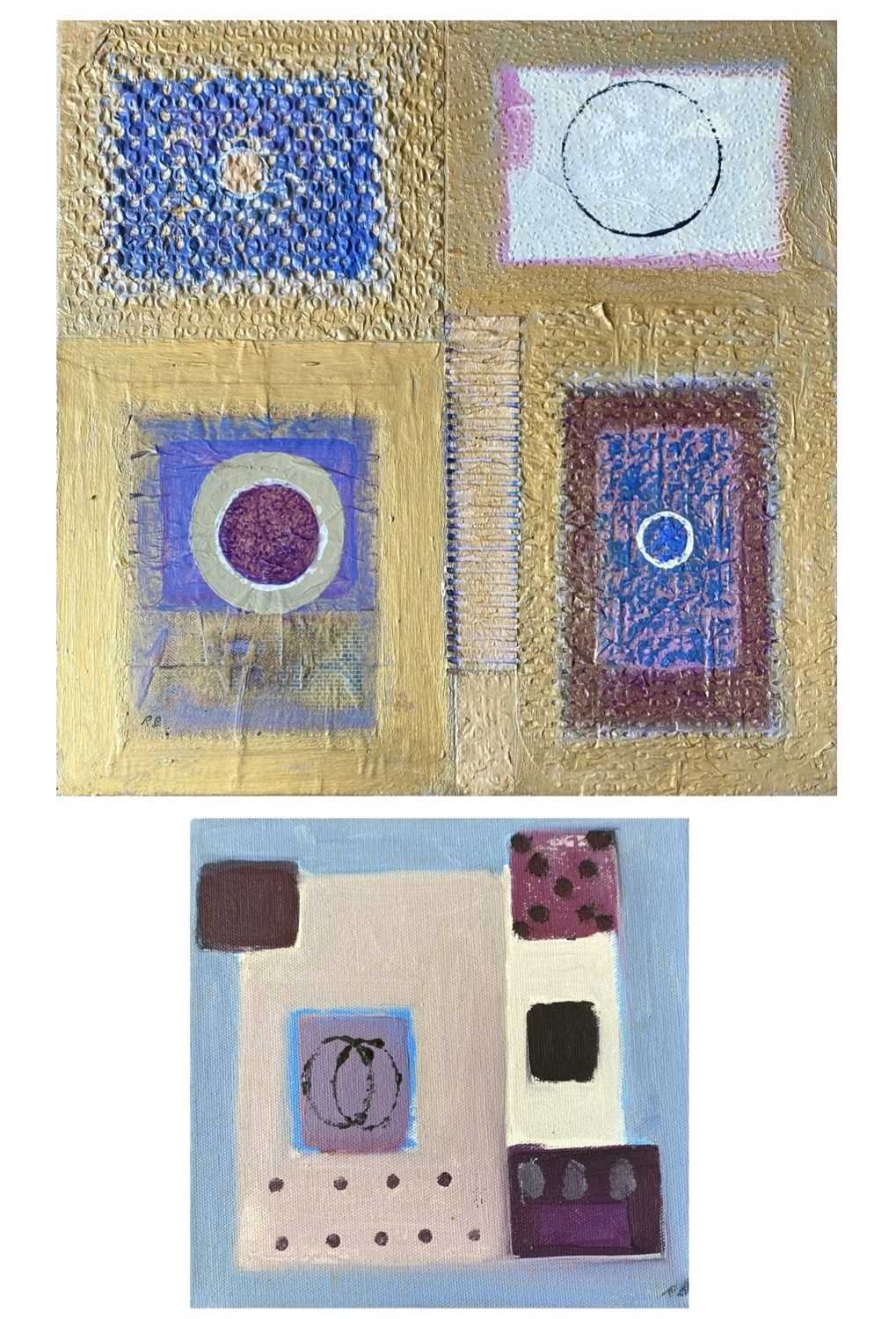 Ray BARRY (1931)Textured Panels Mixed media on canvasInitialled Artists label to verso 40 x