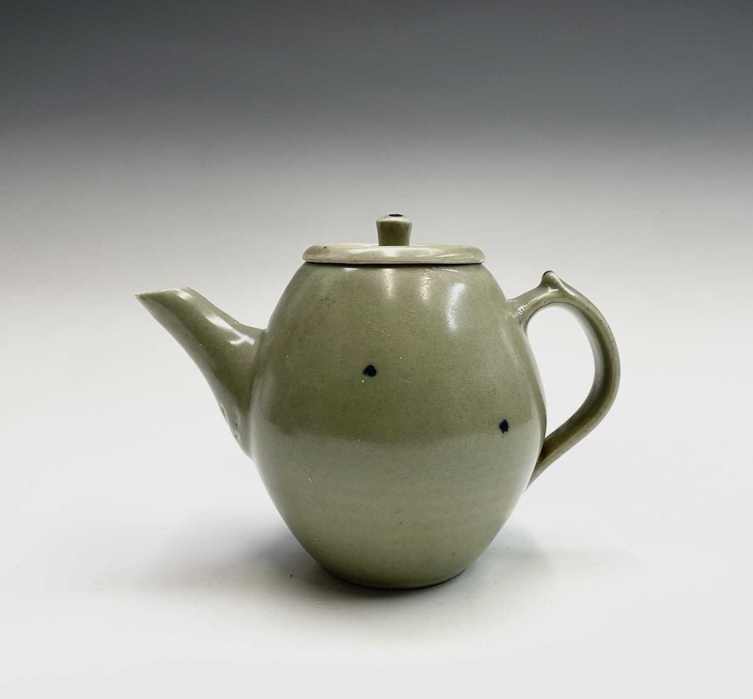 A Leach Pottery, St Ives, celadon glazed teapot, height 14cm, with impressed Leach seal and initials