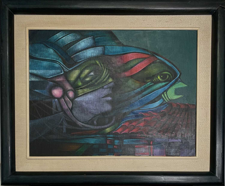 "Delmer Osvaldo MEJIA DUBON (XX) ""Migracion"" Oil on canvas Signed, inscribed to verso 46x61cm - Image 2 of 2"