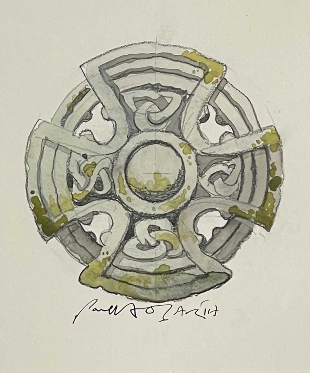 Paul HOGARTH (1917-2001)Celtic Cross, St Protus & Hyacinth - Blisland, Cornwall Watercolour Signed