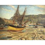 Howard BARRON (1900-1991)Drying Nets - St Ives, Cornwall Oil on canvas laid onto panel Signed