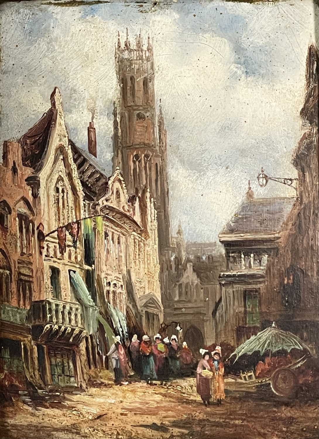 Follower of Henry Thomas SCHAEFER (1854-1915) Town Streets Oil on canvas Indistinctly signed - Image 4 of 7
