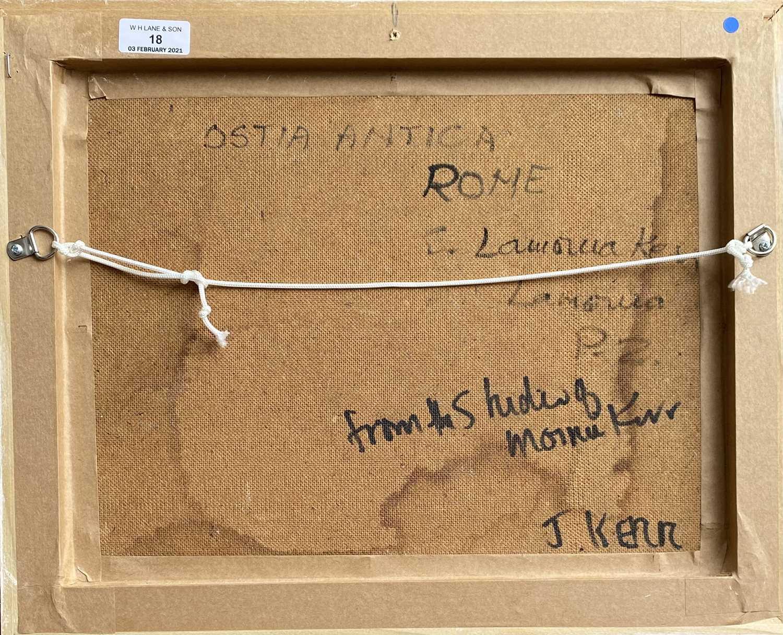 Elizabeth Lamorna KERR (1905-1990)Ostia Antica, Rome Oil on board Signed Inscribed to verso 26 x - Image 2 of 3