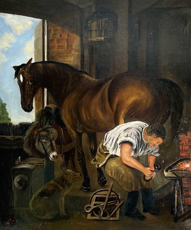After Edwin Landseer Blacksmith Oil on canvas 76x63cm