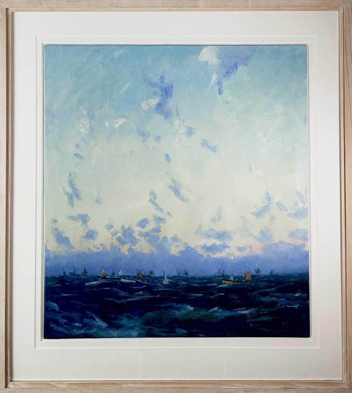 Robert JONES (1943)Mackerel Fleet - Dawn IIOil on board Initialled Signed, inscribed and dated - Image 2 of 3
