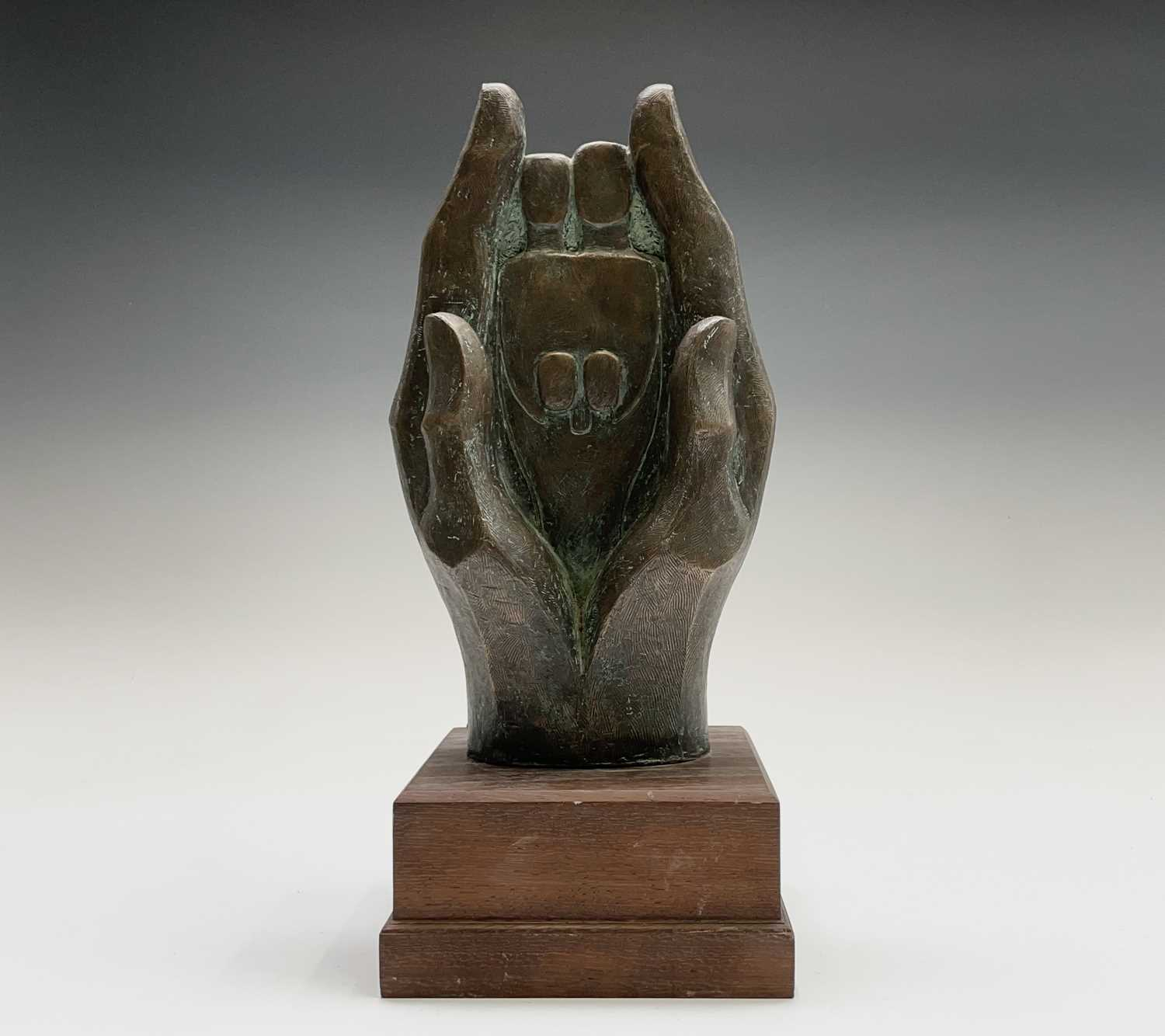 Alec WILES (1924)Hands Cold cast bronze sculpture Signed Height 34cm including wooden base
