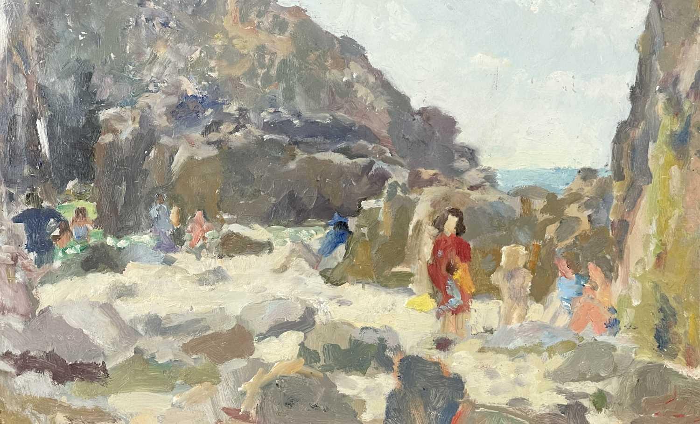 John HARVEY (1935)A Day at the Beach, Nanjizal Oil on board Artist's studio stamp to verso 25 x