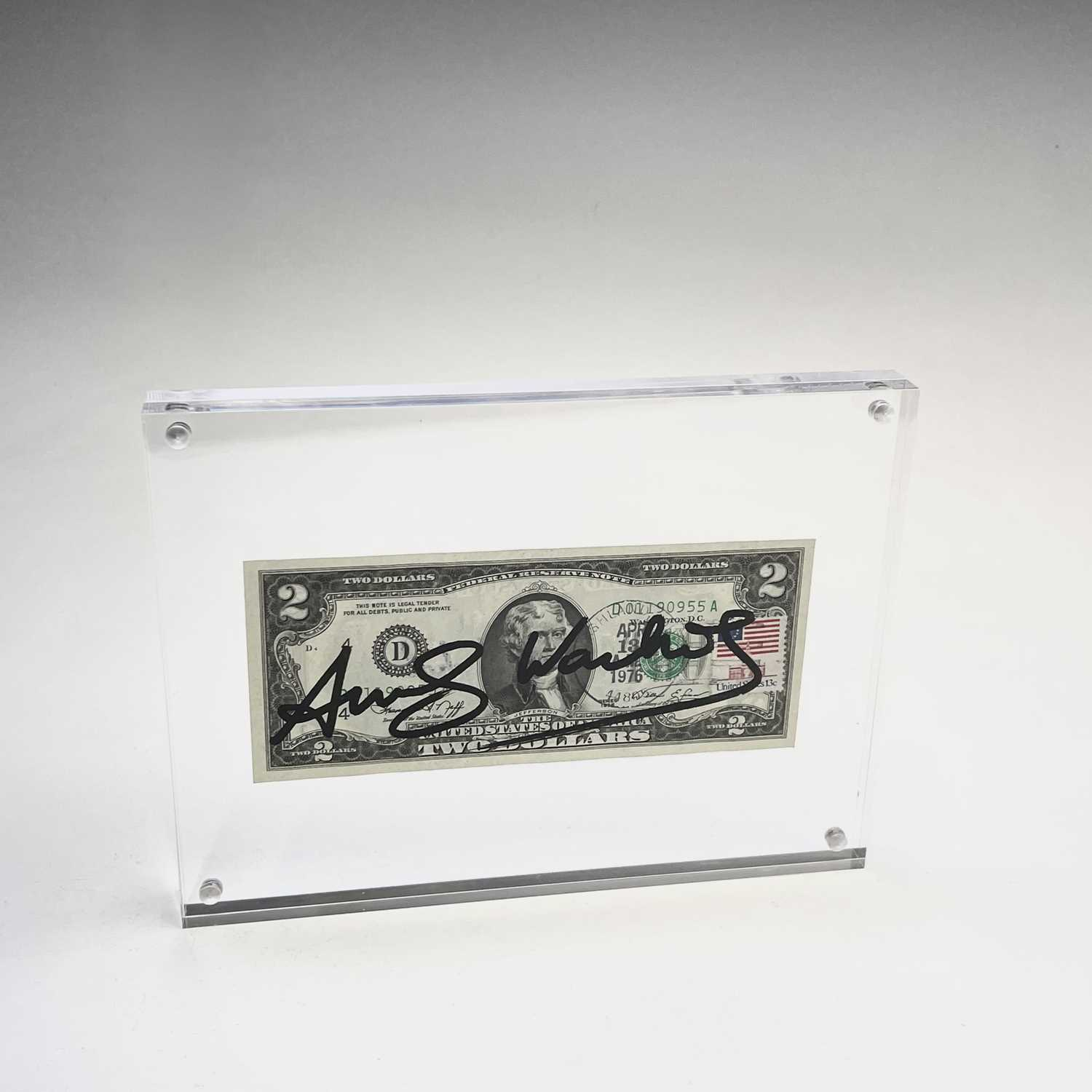 After Andy Warhol, a two-dollar banknote, bears signature, together with accompanying paperwork. - Image 10 of 10