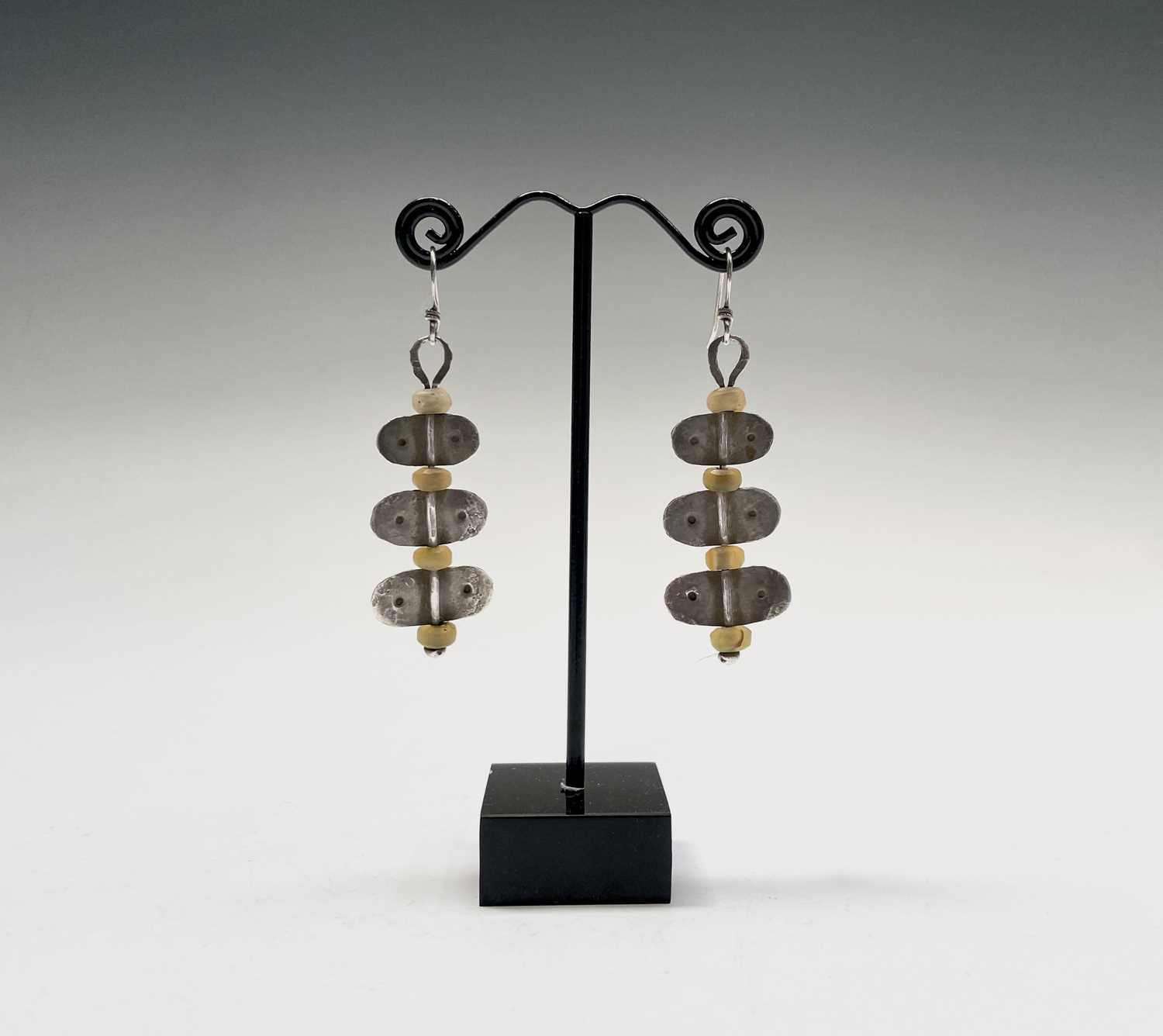 A pair of stone bead and silver Guy Royle earrings, length 6cm.
