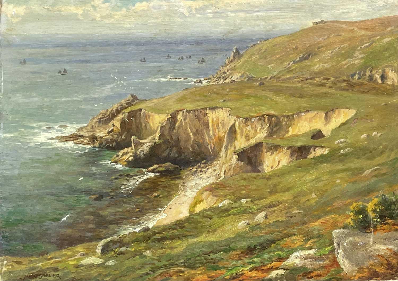 Albert STARLING (XIX-XX) Near Nanjizel, the fishing fleet in the distance Oil on board Signed