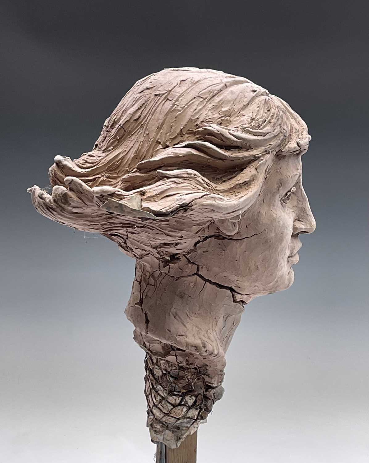 Alec WILES (1924)Female Head Clay sculpture Height 58cm - Image 11 of 17