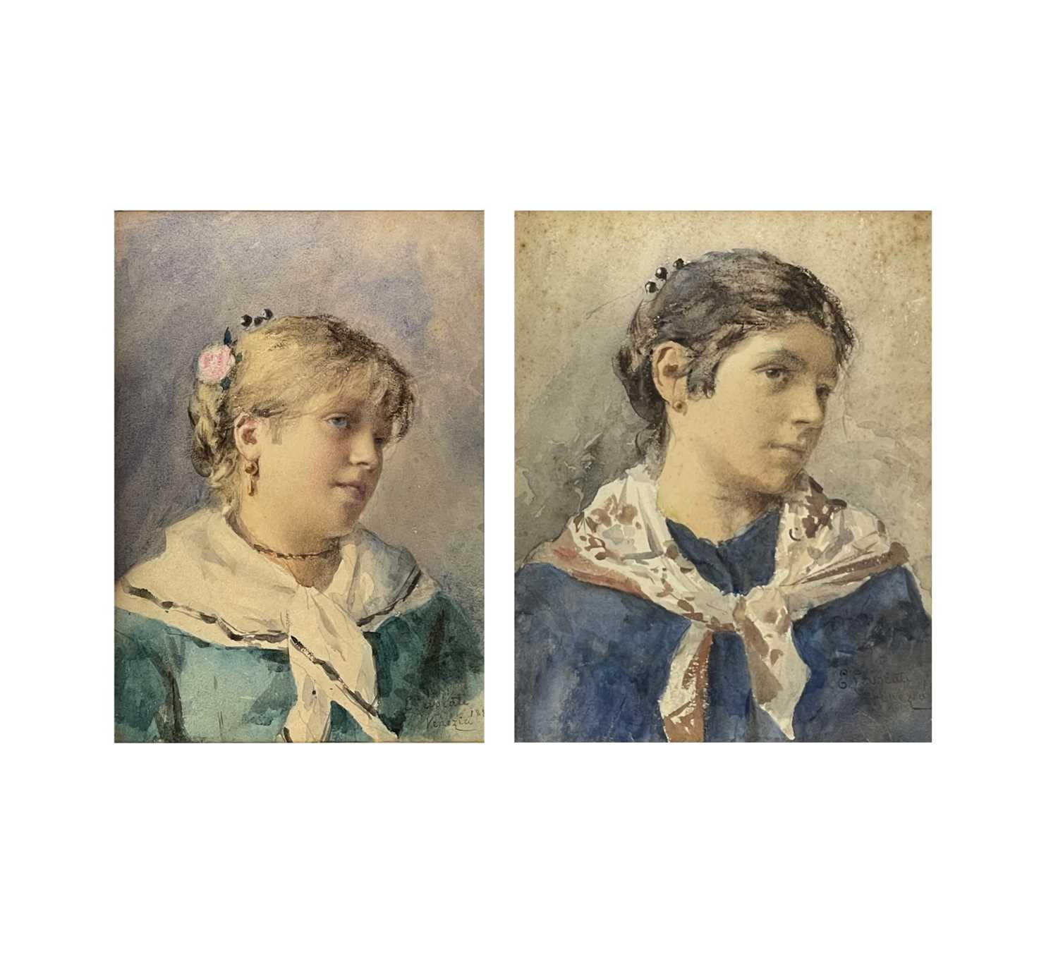Ernesto LEVORATI (XIX-XX) Two portrait watercolours Each of a Venetian girl Signed and dated 1882