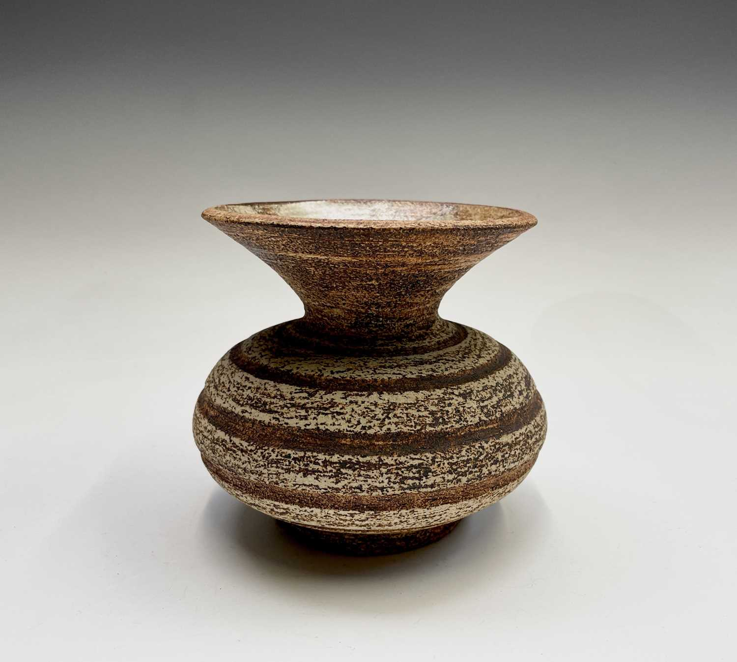 Waistel COOPER (1923-2003) Squat Form Vase with banded decoration and textured glaze Signed to