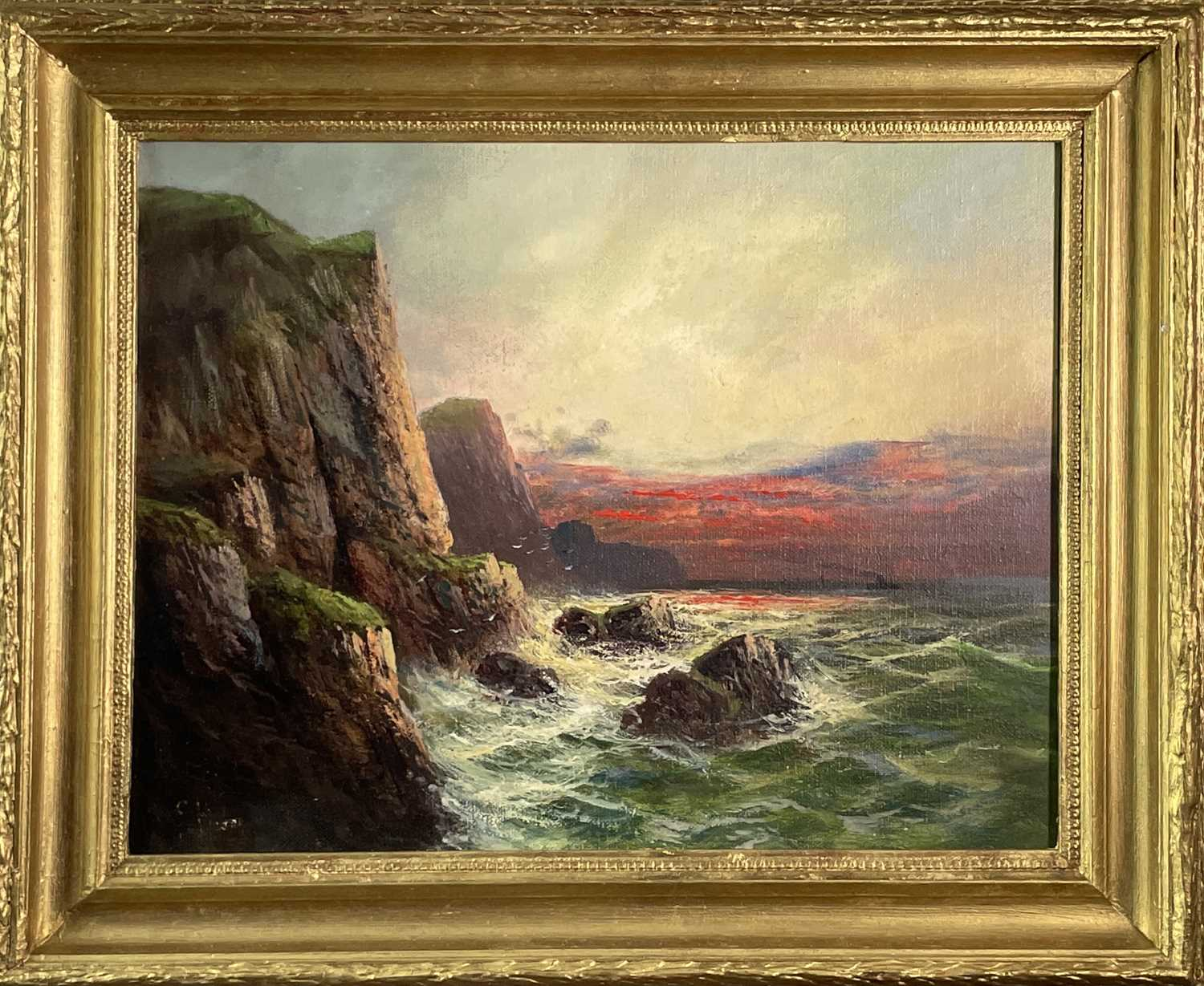 """Frank HIDER (1861-1933)Two oils on canvas """"Near Lands End"""", 30 x 50cm'The Evening Glory of the - Image 3 of 7"""
