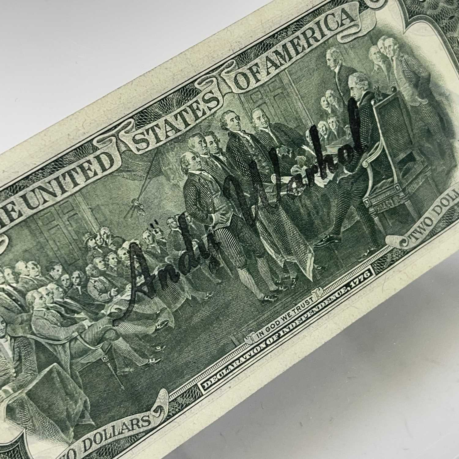 After Andy Warhol, a two-dollar banknote, bears signature, together with accompanying paperwork. - Image 5 of 10